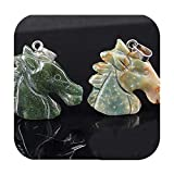 Natural Crystal Carved Horse Head Pendant Necklace Men and Women Jewelry DIY Sweater Chain Jewelry Accessories-India agate-45cm