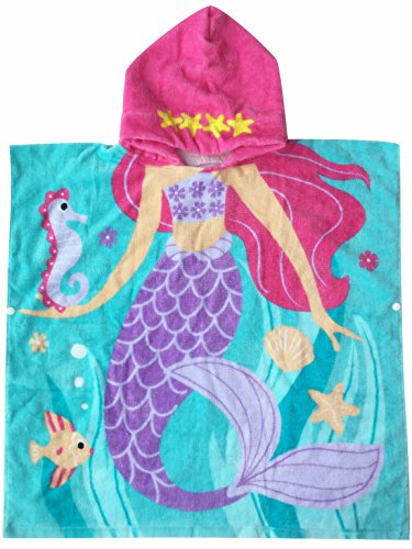 "Hooded Towel for Girls 1 to 5 Years Old Kids and Toddlers Cotton Ultra Soft, Super Absorbent, Extra Large 48"" x 24"", Use for Bath/ Pool/ Beach Swim Cover ups, Mermaid Theme"