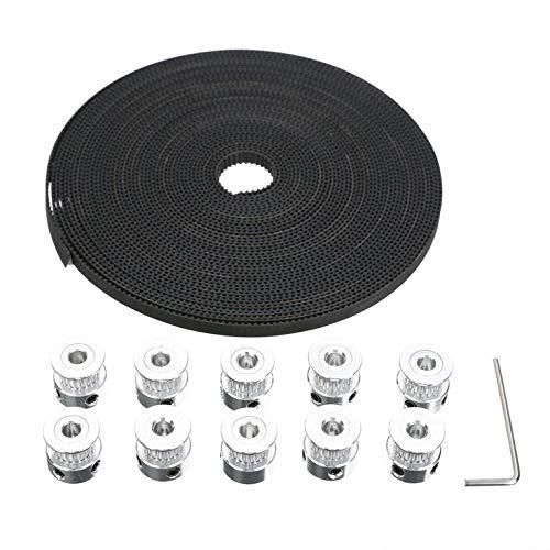 QiKun-Home 10M GT2 Timing Belt Timing Belt +10 Gear Pulley for RepRap 3D Printer CNC Belts 7mm Pulley Accessories Black