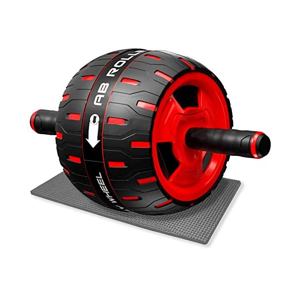 Sportout Ab Roller, Exercise Roller for Abs Workout, Ab Wheel Ultra-Quiet Abdominal Training, Slim Trainer Easy to Install, Non-Slip, with Knee Mat, Unisex