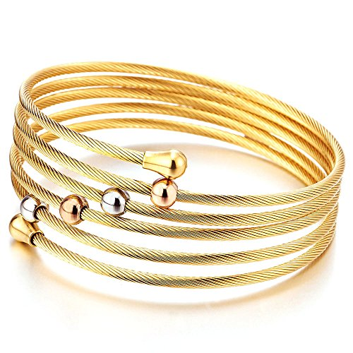 COOLSTEELANDBEYOND Damen Multi-Strang Elastische Verstellbare Edelstahl Gold Verdrehten Stahlkabel Armband Armreif mit Wulst Charme
