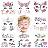 HOWAF Mermaid Butterfly Unicorn Face Tattoos Kit for Kids, 8 Sheets Fake Temporary Face Paint Tattoos for Kids Boys Girls Party Bag Filler Birthday Party Supplies Favors Halloween Makeup Skin Safe