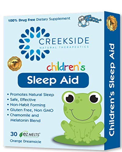 Creekside Naturals Sleep Aid for Children, with Melatonin and Chamomile, Zero Sugar, Vegan, Pediatrician Formulated, Orange Dream Flavor, 30 EZ Melt Tablets