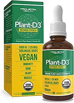 Plant-D3 Organic Vitamin D3 5000 IU - Vegan Max Strength Sublingual Liquid D3 Drops - 200% Higher Absorption - 100% Plant-Based Cholecalciferol Form - Adjustable Dosing for All Ages 90 Servings