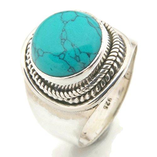 Ring Silber 925 Sterlingsilber Türkis blau grün Stein (Nr: MRI 96), Ringgröße:56 mm/Ø 17.8 mm