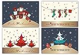 20 Weihnachtskarten, 4 verschiedene Motive, Postkarten, Glitzer,...