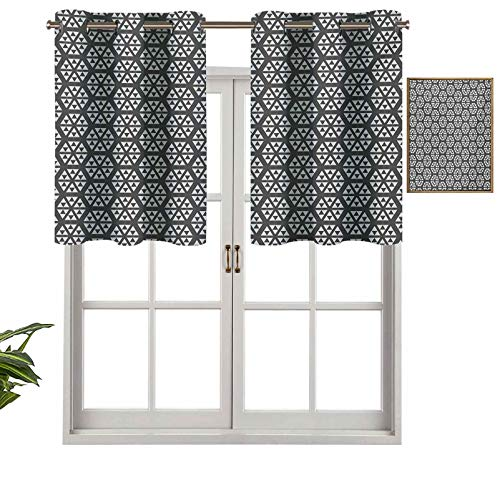 Hiiiman Panel de cortina de bloqueo UV, triángulos geométricos monocromáticos inspirados en fractales, diseño moderno, juego de 2, 42 x 24 pulgadas para habitación de niños