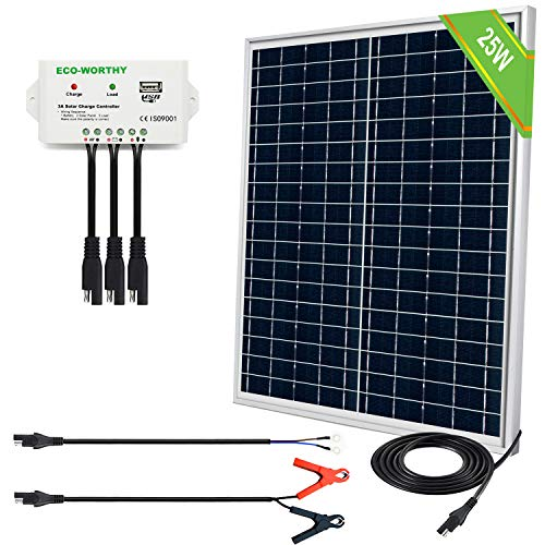 ECO-WORTHY 25 Watts 12 Volts Solar Panel SAE Connector Kit