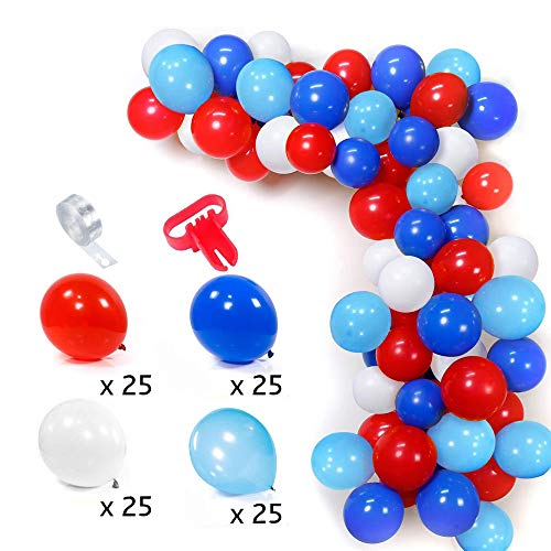 103 Stück Luftballons Bogen Set, Rot Weiß Hellblau Blau Luftballons, mit Ballonstreifen Tape Kit Tool, Ballon Girlande Kit, für Geburtstagsfeier, Abschlussfeier