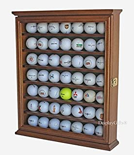 49 Golf Ball Display Case Cabinet Holder Rack w/UV Protection, Solid Wood