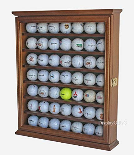 Discover Bargain 49 Golf Ball Display Case Cabinet Holder Rack w/Lockable, (Walnut)