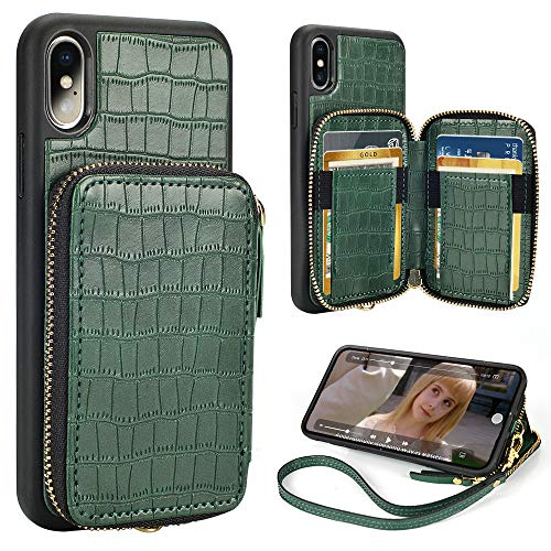 iPhone Xs Wallet Case,iPhone X Wallet Case ZVE iPhone Xs/x Case with Credit Card Holder Slot Wrist Strap Zipper Handbag Purse Case for Apple iPhone x/xs 5.8 inch -Small Crocodile Skin Pattern Green