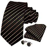 GPZFLGYN Krawatten Gestreifte 100% Seide Herren Krawatte Set Business Formale Krawatte Taschentuch Manschettenknöpfe Krawatte Clip Geschenk für Männer
