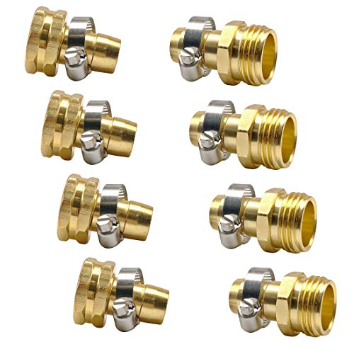 Fasmov Garden Hose Repair Connector with Stainless Steel Clamp, 4 Sets Female and Male Hose Connector