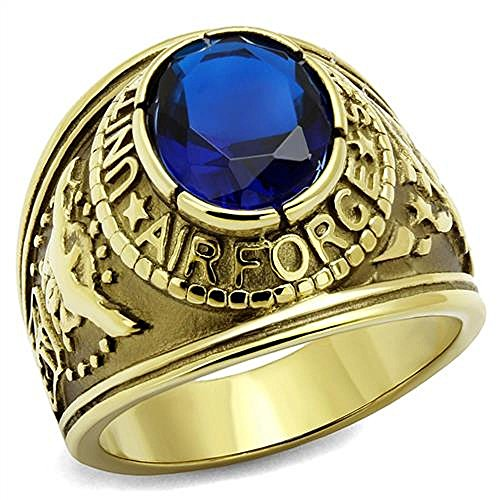 Nationalonlinediscounts United States Air Force Stainless Steel Gold Plate USAF Military Ring (12)