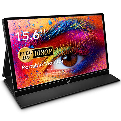 USB Monitor - 15,6 Zoll Tragbarer Monitor IPS Bildschirm 1920×1080 Full HD, Portable Monitor mit USB-C/Typ-C Mini-HDMI für PC, Handy, Xbox, PS4 usw, mit Schutzhülle, Displayschutz