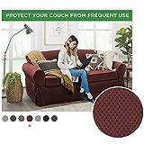 MAYTEX Pixel Ultra Soft Stretch 2 Piece Furniture Cover Sofa Slipcover, Wine