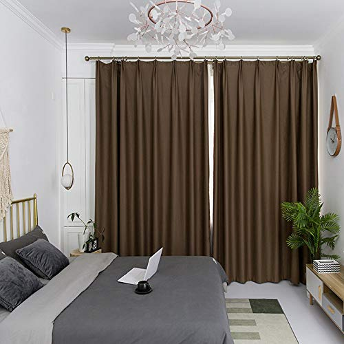 IYUEGO Pinch Pleat Solid Thermal Insulated 95% Chocolateout Patio Door Curtain Panel Drape for Traverse Rod and Track, Chocolate 120