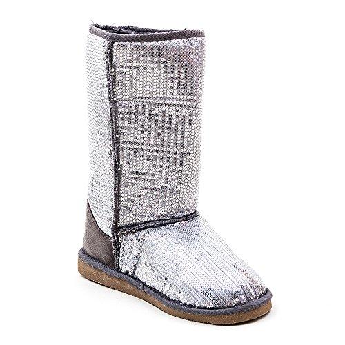 TrendandStylez Pailletten Stiefel Silber 36-41 Damen & Herren Designer Schuh (36)