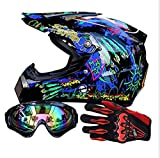 Casco de Motocross para Niños Casco Adulto Casco de Motocross Todoterreno Off Road Dirt Bike MX Juego de Casco Road Racing Regalo del niño para Adultos Unisex (Small,A)