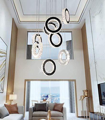 HJW Escaleras Dúplex Colgante Luz de 8 Anillos Led Lámpara Colgante de Cristal Dimmable Control Remoto Dimmable Lobby Lámpara de Araña Ajustable Colgante Luz Cromada Pulida Lámpara de Techo Creativa