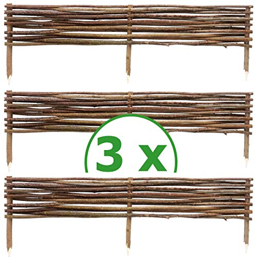 BOGATECO 3 x Haselnuss Beeteinfassung | 20 cm Hoch & 120 cm Lang | Staketenzaun Perfekt als Beet-Umrandung oder Weg-Abgrenzung