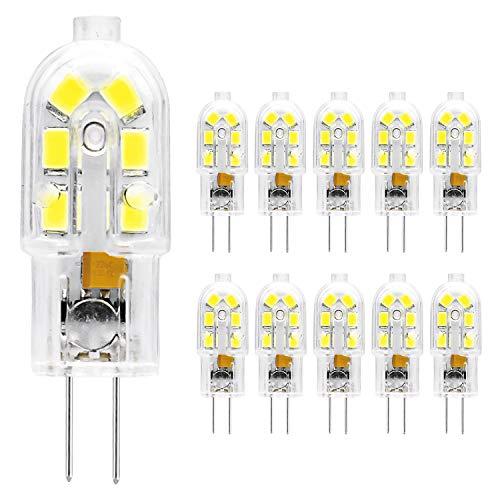 ETHT G4 LED Bulb, 12V JC G4 Bi Pin Bulb, G4 20W Halogen Bulb Replacement, Daylight 6000K, 10-Pack (G4 Base Daylight 10PCS)