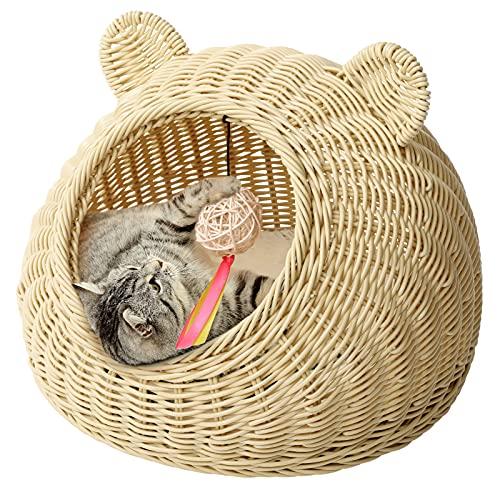 猫ハウス 猫ベッド ドーム型 手編み ペットソファ ペットベット 通気性 四季通用 ござ付き クッション付き おもちゃのボール付き (S, ベージュ)