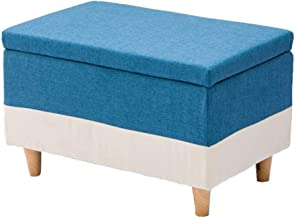 Yxsdd Footrest Storage Box in Solid Wood Stool Upholstered Pouf Practical Versatile Cube Max Load 300 Kg Living Room