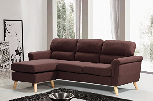 Harper&Bright Designs Sectional Sofa Fabric Living Room Sofa Set Collection Taupe with Curled Handrails and Nail Head Trim Upholstered Couch (Dark Brown)