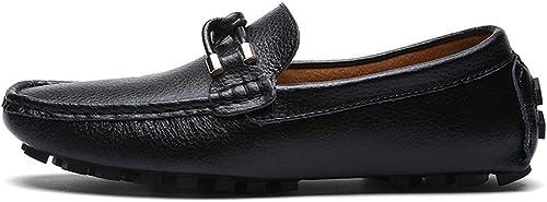 CHENDX Chaussures, Mode pour Hommes en Cuir véritable Conduite Penny Loafers Mocassins décontractés Semelle en Caoutchouc Souple avec décor en Corde entrelacée (Couleur   Noir, Taille   43 EU)