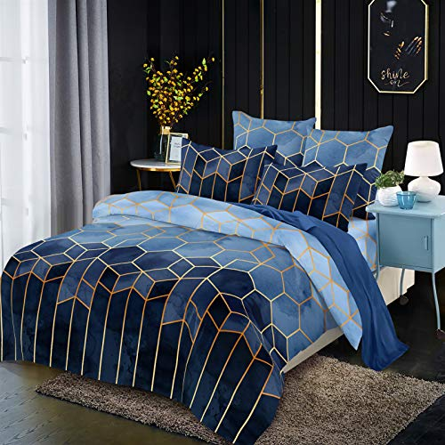 Duvet cover and pillowcase bedding quilt cover single double room king size bed (Rolny Blue)