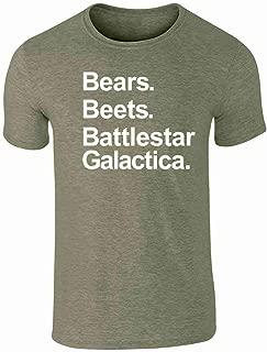 Bears Beets Battlestar Galactica Funny Graphic Tee T-Shirt for Men