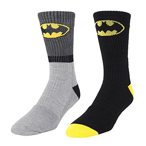 DC Comics Herren Sportsocken Batman-Logo, 2 Paar, Grau gestreift und Schwarz, Schuhgröße 39-40