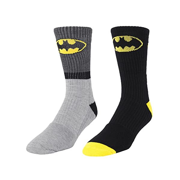 DC Comics Batman Logo 2 Pair Men's Athletic Crew Socks Gray Stripe & Black shoe size 6-12