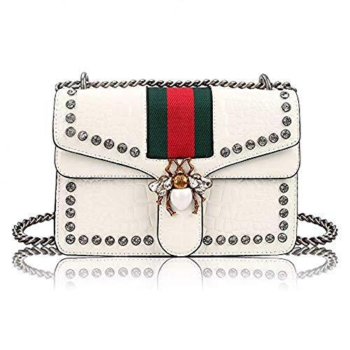 Unyu designer, pochette a tracolla per donne, alla moda, con ape in strass, con catena, in pelle in poliuretano, indossabile a spalla singola, per ragazze, Bianco (bianco), Taglia unica