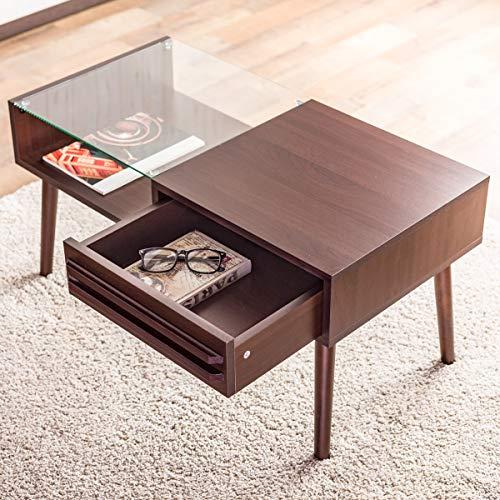 システムK センターテーブル 収納付きガラステーブル 引き出し ローテーブル 木製 ダークブラウンB