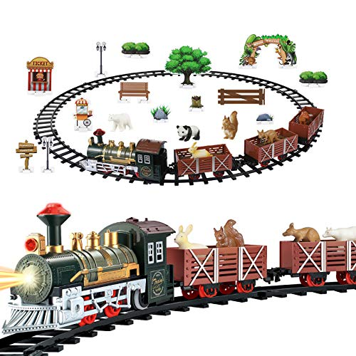 Train Set - Electric Train Toy for Boys Girls with Light and Sound - Battery Operated Toy Train Sets with Railway Kits Cars Tracks Animals - Train Toys Gifts for 3 4 5 6 7 8 Year Old Kids Toddlers