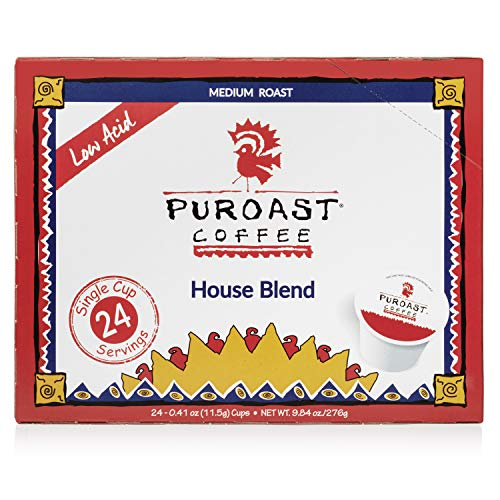 Puroast Coffee Low Acid Coffee House Blend - 24 Kcup Cup Single Serve Coffee, Medium Roast House Blend, 24Count