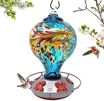 Grateful Gnome - Hummingbird Feeder - Hand Blown Glass - Large Blue Egg with Flowers - 36 Fluid Ounces