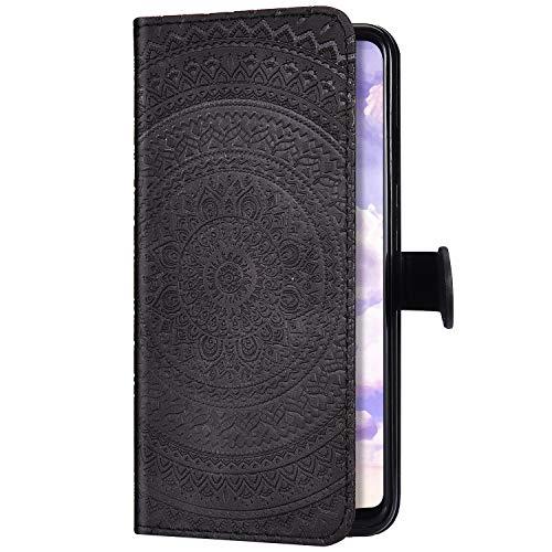 Uposao Kompatibel mit Samsung Galaxy A3 2017 Handyhülle Leder Hülle 3D Mandala Blumen Muster Brieftasche Klapphülle Flip Case Schutzhülle Tasche Magnet Kartenfach Standfunktion,Schwarz