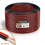 MANAX - Cable para Altavoces (2 x 1,5 mm², Bobina de 100 m), Color Rojo y Negro