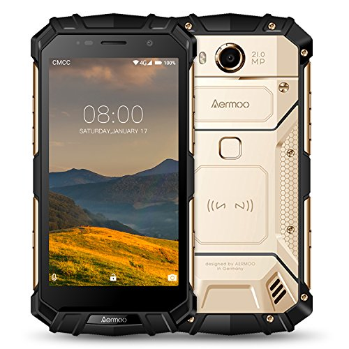 Outdoor Smartphone ohne Vertrag, Aermoo M1 Dual SIM 4G Outdoor Handy 7.0 Android Phone, IP68 Wasserdicht, 5.2'' FHD, Helio P25 Octa-core, 6G RAM+64G ROM, 8.0MP+21.0MP, 5580mAh Smartphones - Gold
