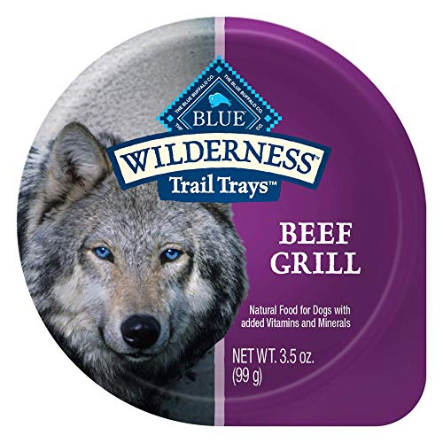 Blue Buffalo Wilderness Trail Trays High Protein Grain Free Natural Adult Wet Dog Food, Beef Grill 3.5-oz cups (Pack of 12)
