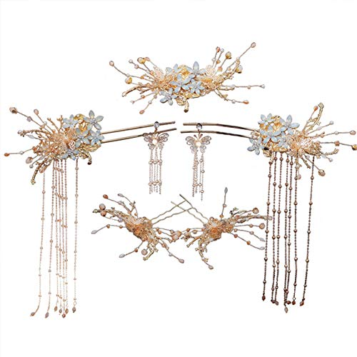 FDSFD Coiffe de diadème de mariée Chinoise, Pince à Cheveux de Mariage de Fleurs de Style rétro, processus de galvanoplastie Exquis, Squelette en Alliage, Uniforme de Couleur