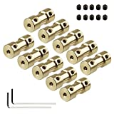 Xnrtop 2mm to 5mm Brass Connector Copper DIY Motor Flexible Shaft Coupling Joint Connector With Screws for RC Model Motor(10 of Pack)