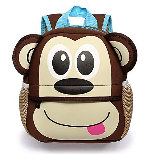 Hipiwe Little Kid Toddler Backpack Baby Boys Girls Kindergarten Pre School Bags Cute Neoprene Cartoon Backpacks for Children 1-5 Years Old (Monkey)