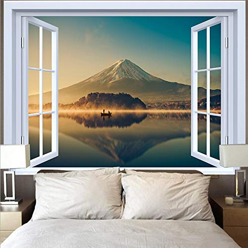 Tapiz de luna natural colgante de pared hippie playa bosque girasol cielo cielo estrellado ventana tapiz tela colgante A7 180x230cm