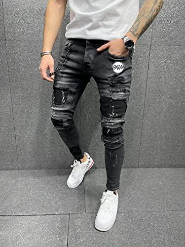 WQZYY&ASDCD Jeans Vaqueros Pantalon Skinny Jeans Men Beggar Ripped Jeans Stretch Zipper Denim Hip-Hop Casual...