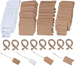 JiaUfmi 800 Pieces Price Tags Blank Brown Marking Tags with Hanging String Writable Tags Jewelry Clothing Tags, 4 Styles